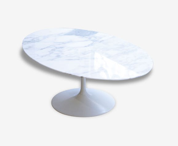 Table basse ovale en marbre eero saarinen edition knoll pierre et pl tre blanc design 46822 - Table knoll ovale marbre blanc ...