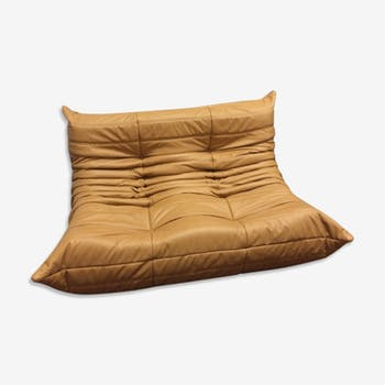 "Sofa 2 seater ""Togo"" mustard leather by Michel Ducaroy for Ligne Roset"