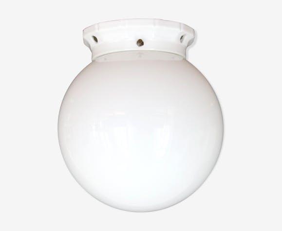 Plafonnier globe boule verre opaline blanche 20 cm