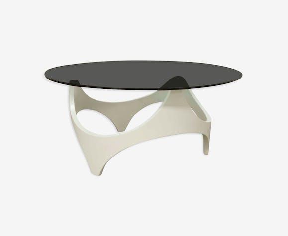 Table basse 70 space age bois courbé blanche