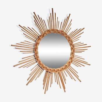 Sun mirror in rattan 1960's,  58x58cm