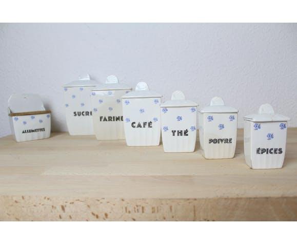 Ensemble 7 pots à épices Ceranor St Amand, céramique