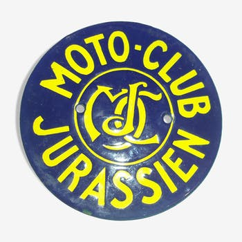 Former 1960s blue and yellow round enamel plate for Moto Club