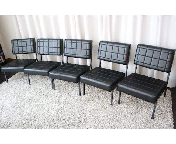 Lot de 5 sièges en skaï vintage 60