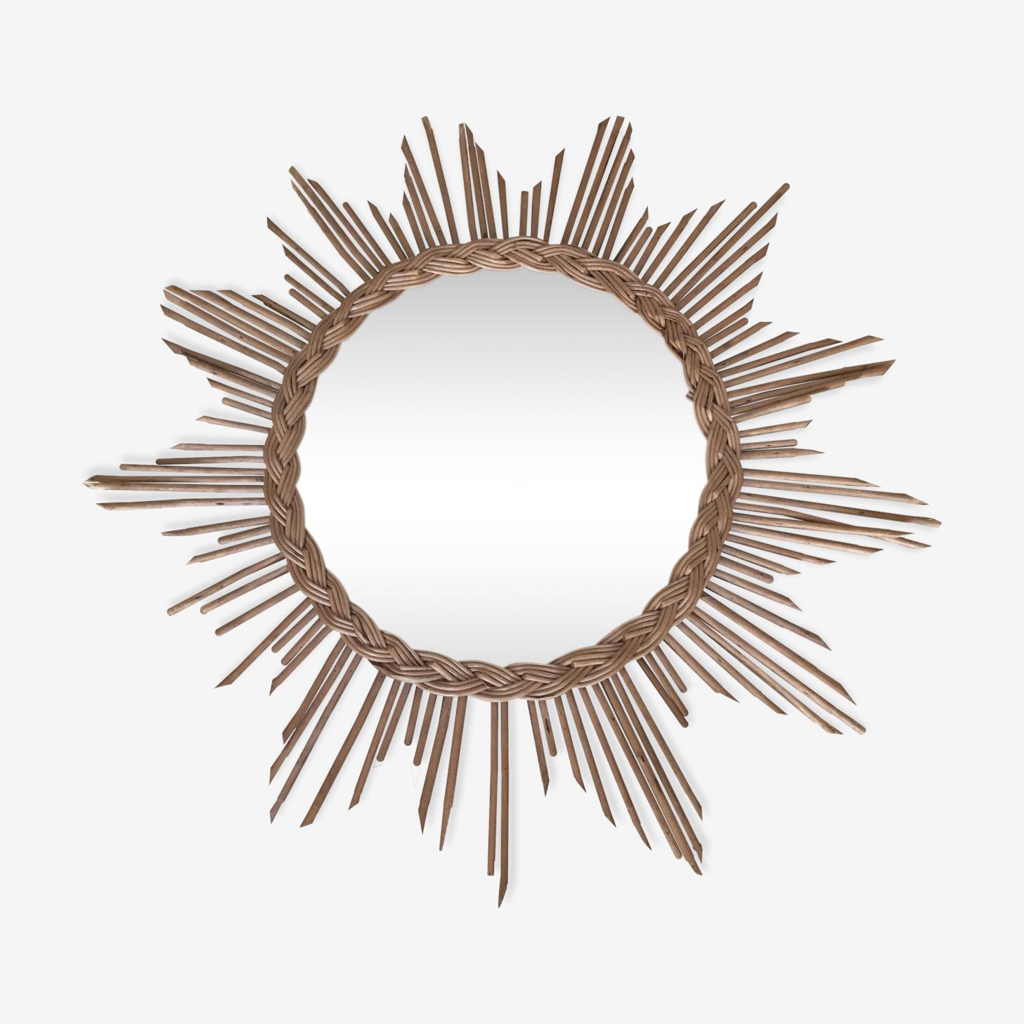 Miroir soleil rotin vintage osier