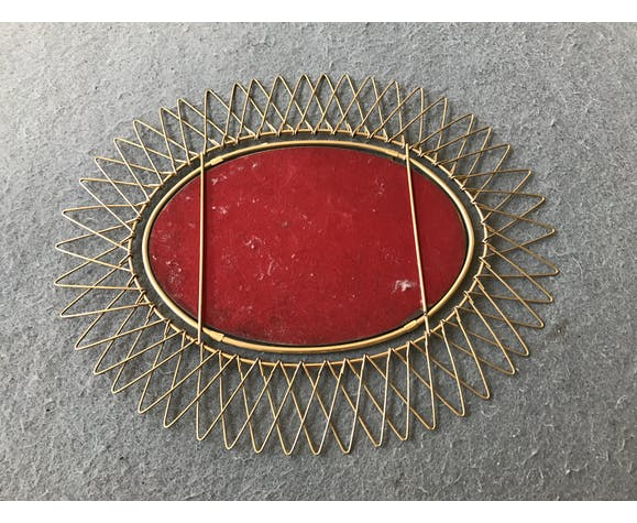 Miroir soleil en métal doré petit format shabby chic vintage 1950