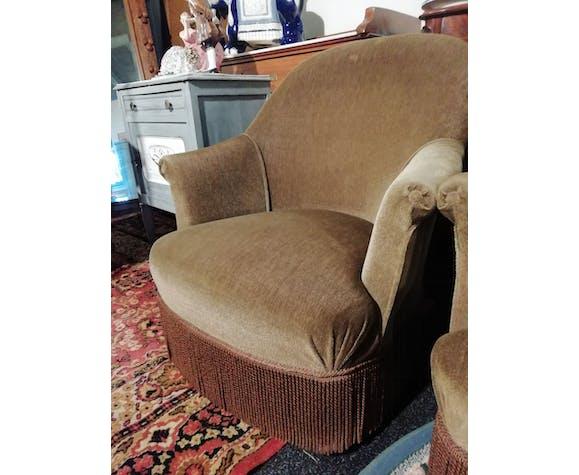Paire de fauteuil Crapaud en velours