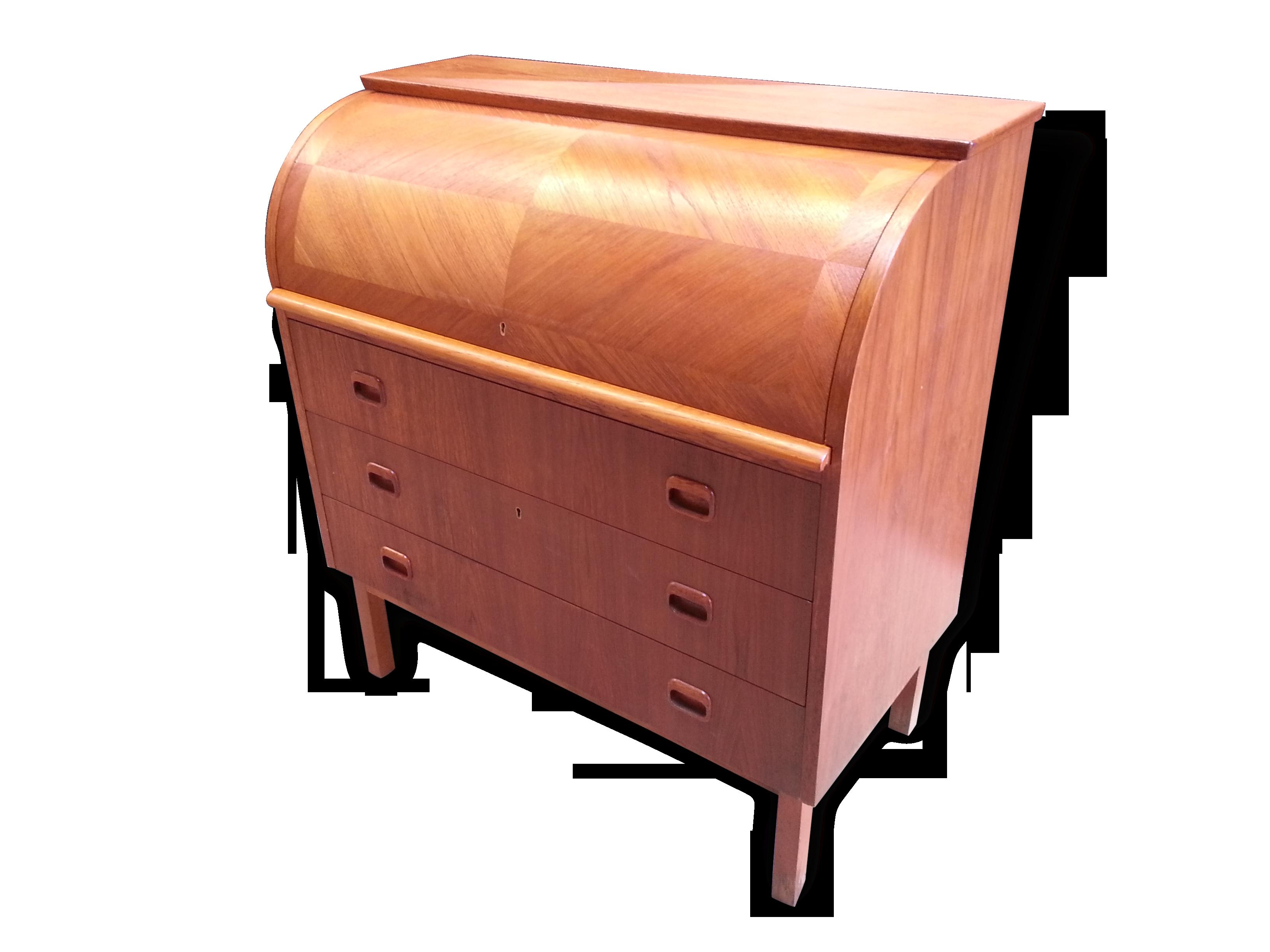 Bureau secrétaire à cylindre vintage style scandinave bois