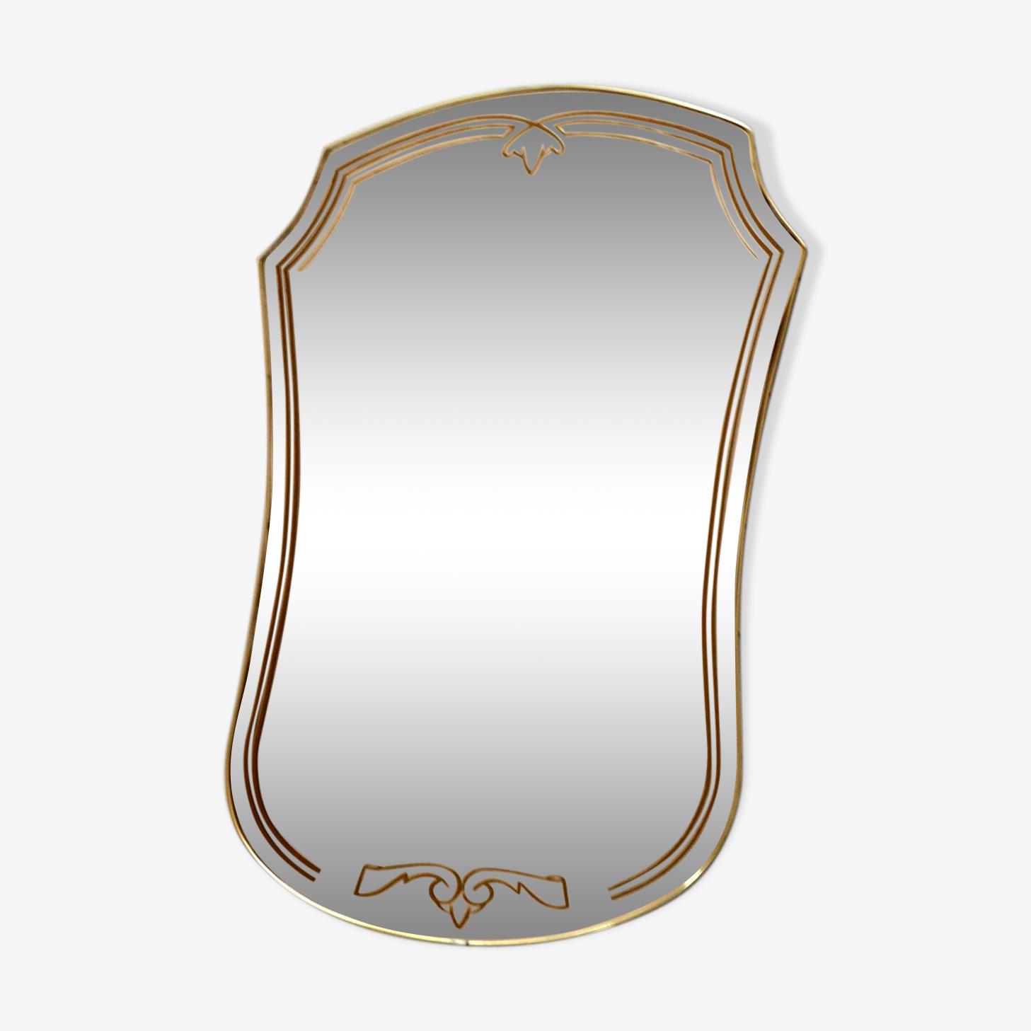 Brass contour mirror 44x66cm
