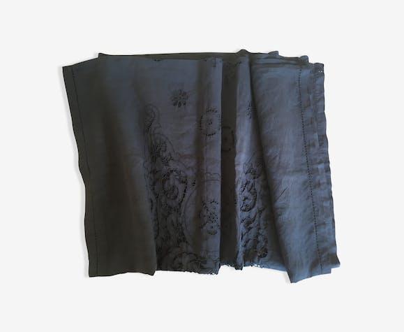 Embroidered linen coat Richelieu iron grey 200cm x 140cm
