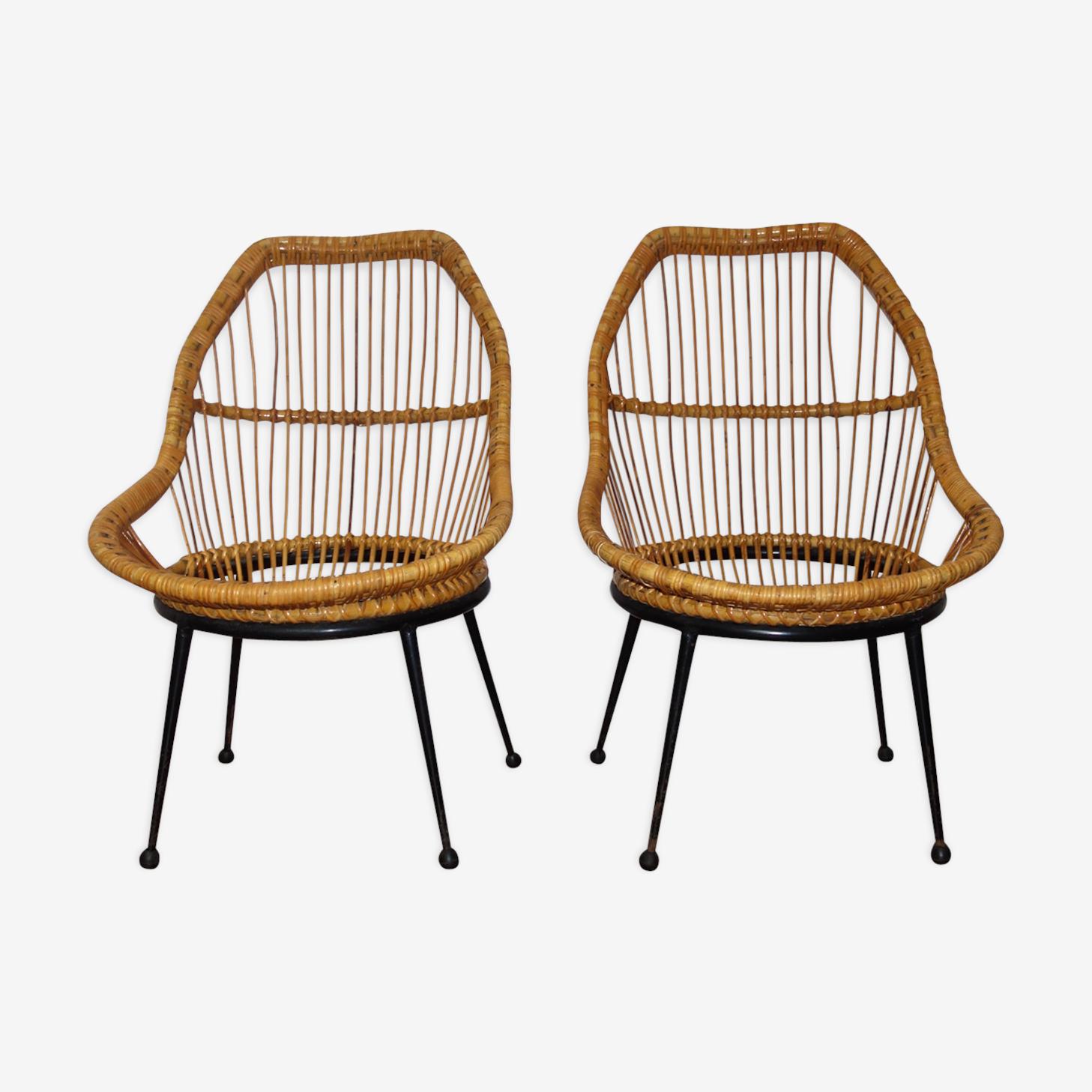 Paire de fauteuils en rotin pieds métal années 1950