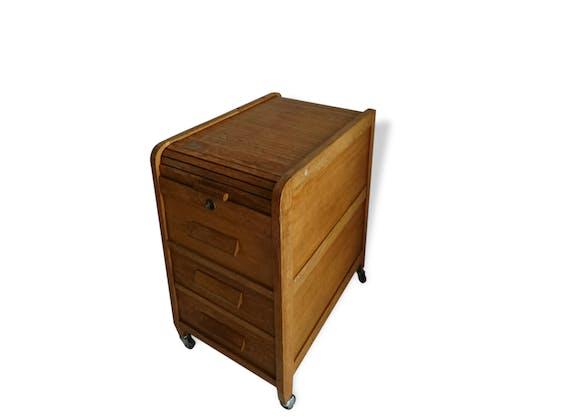 Ancien classeur meuble a rideau sur roulette bois mat riau bois couleur vintage 157595 - Meuble a rideau ...