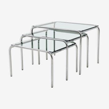 Ensemble de tables Gispen style verre et chrome