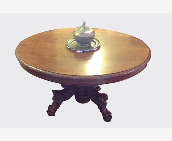 Table à Manger Ancienne En Chêne Bois Matériau Marron