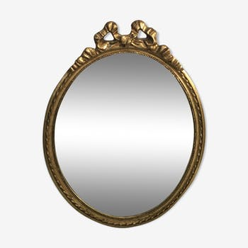 Miroir médaillon bois sculpté doré + verre décoration vintage 45x32cm