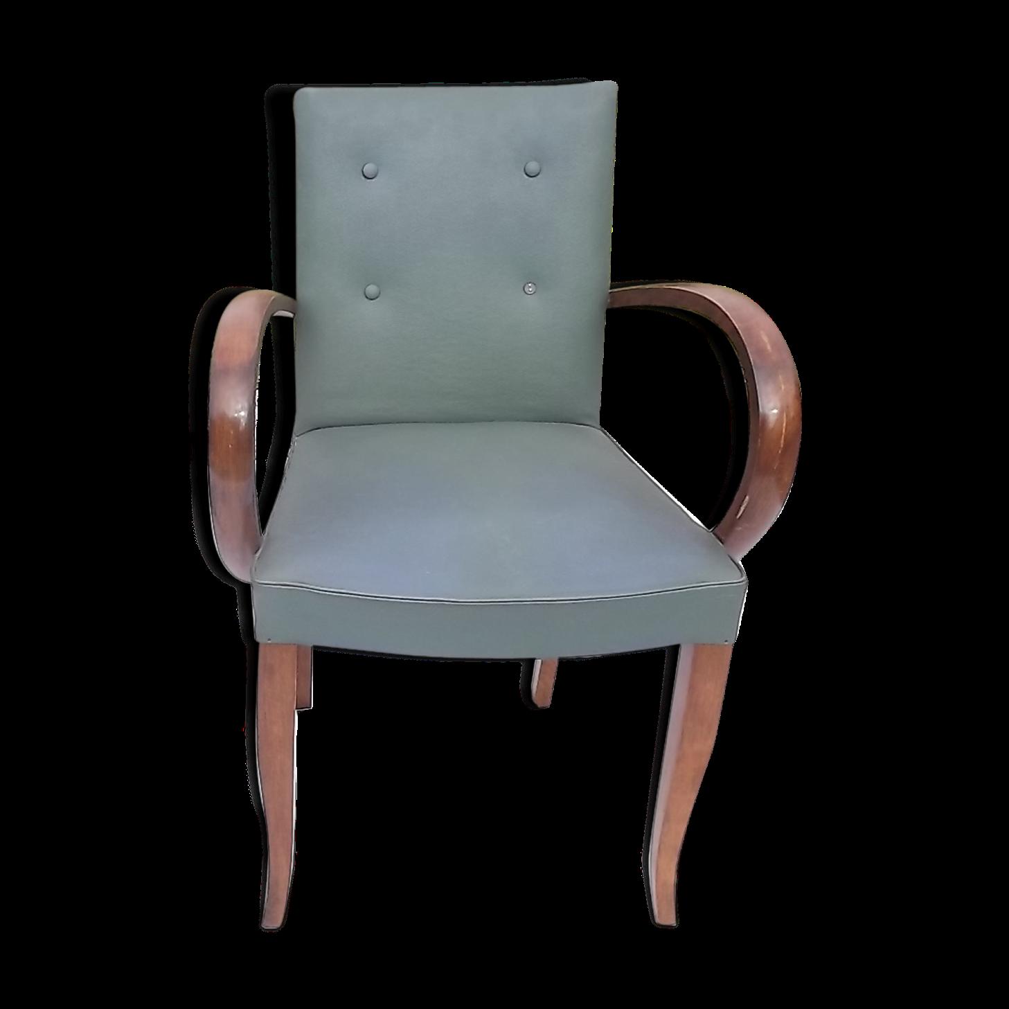 Paire de fauteuils années 30 noyer et skai