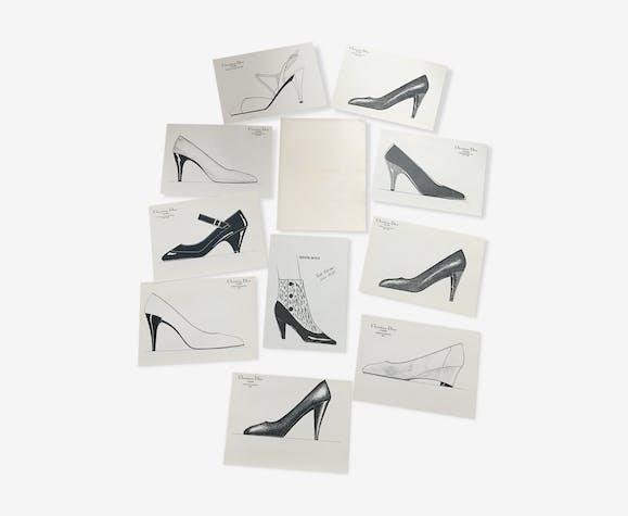 Christian Dior & Pierre Balmain : lot de 10 esquisses de mode