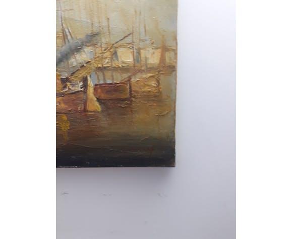 Tableau huile sur toile bateau a voiles au port