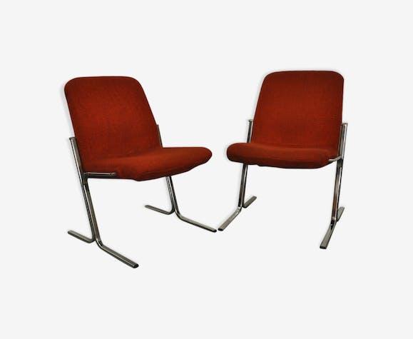 """Paire de chauffeuses des années 60 / 70 assise rouge """"rouille"""""""