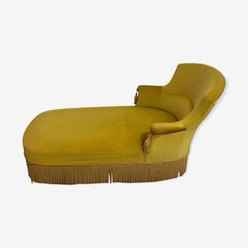 Yellow velvet meridian bench
