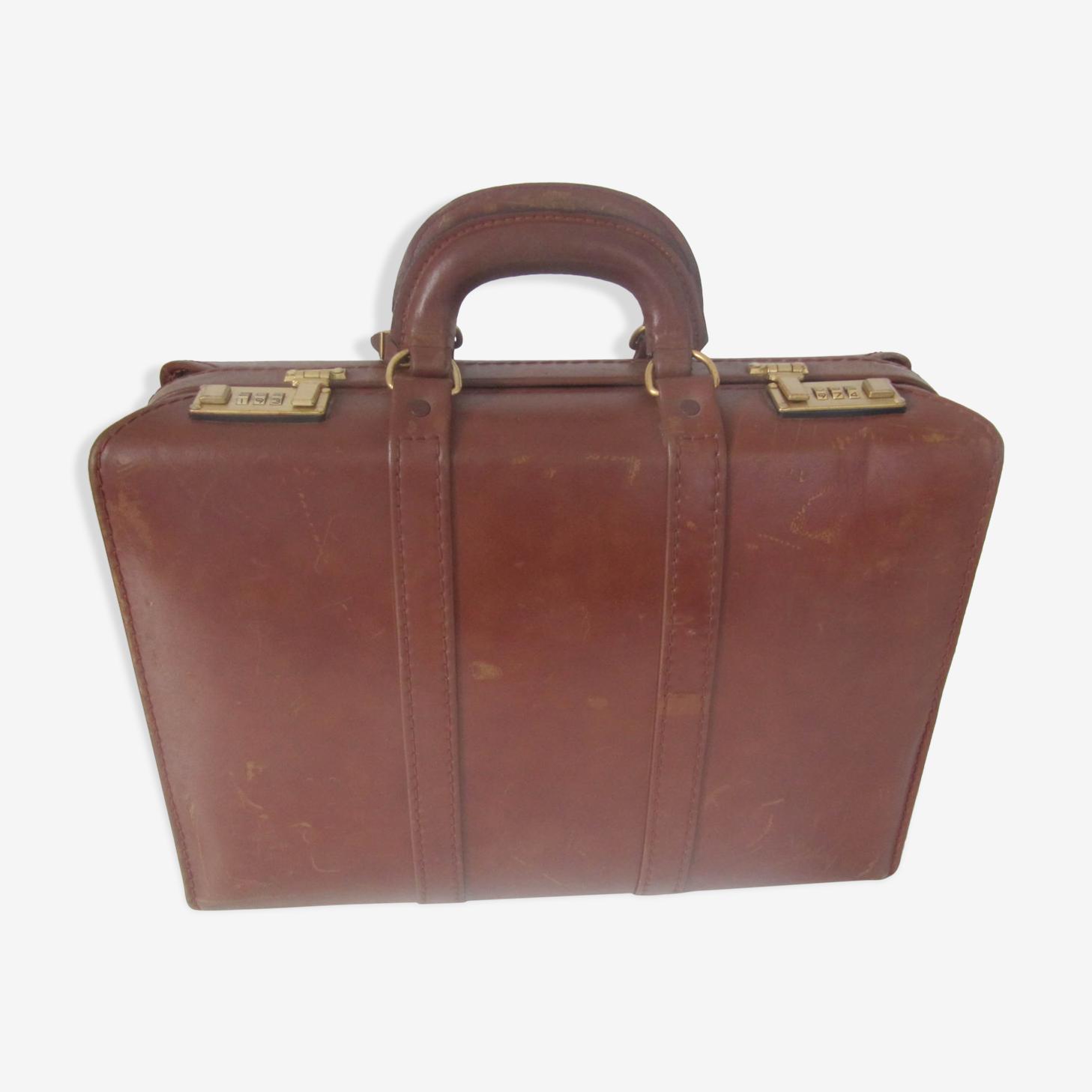 Mallette attaché case en cuir vintage