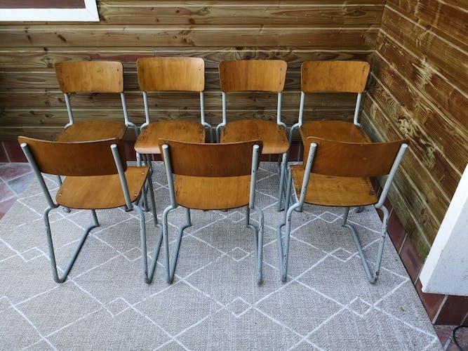 Lot de 7 chaises école vintage piétement luge