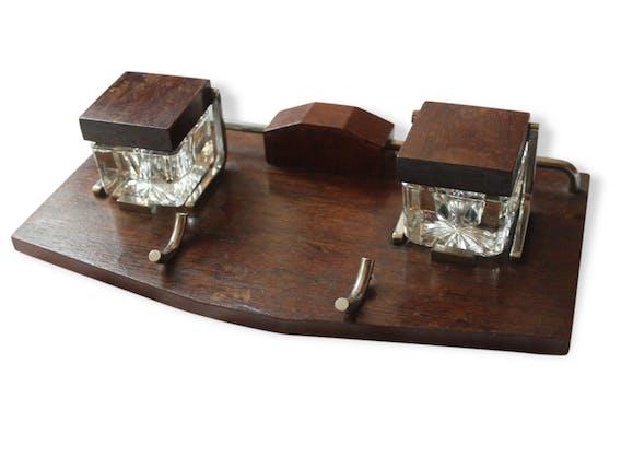 Porte plume avec ses encriers double vintage ann es 50 en for Porte de salon en bois et verre