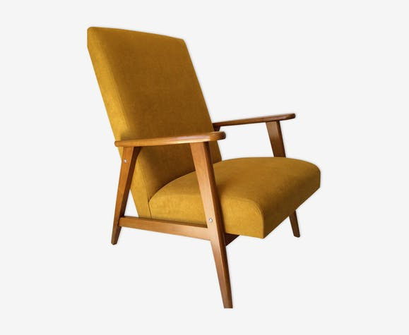 Fauteuil vintage jaune moutarde - wood - yellow - vintage - SYHOCVQ