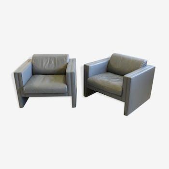 Paire de fauteuils Walter Knoll en cuir gris  design Jürgen Lange