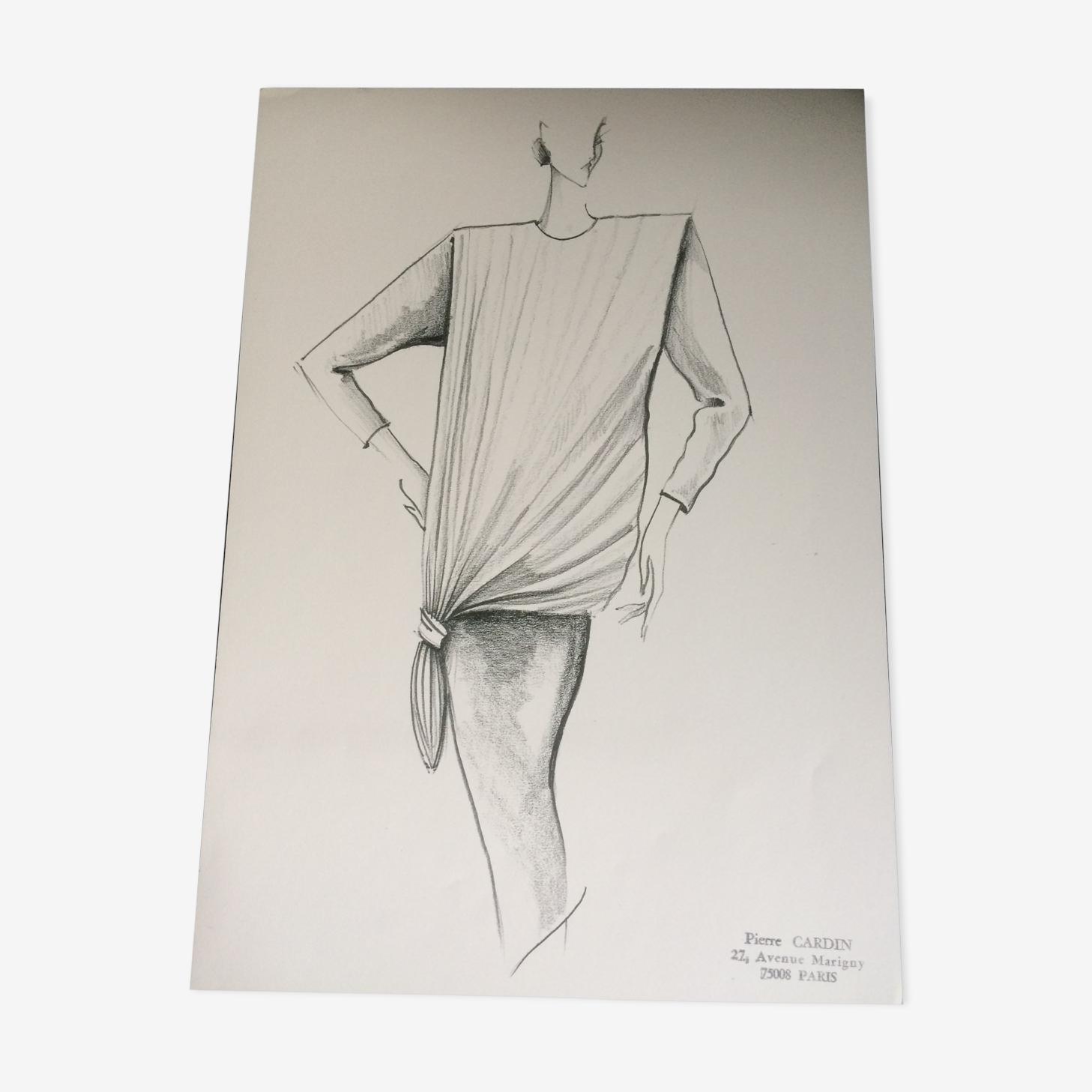 Pierre Cardin: croquis vintage de mode presse - début des années 90