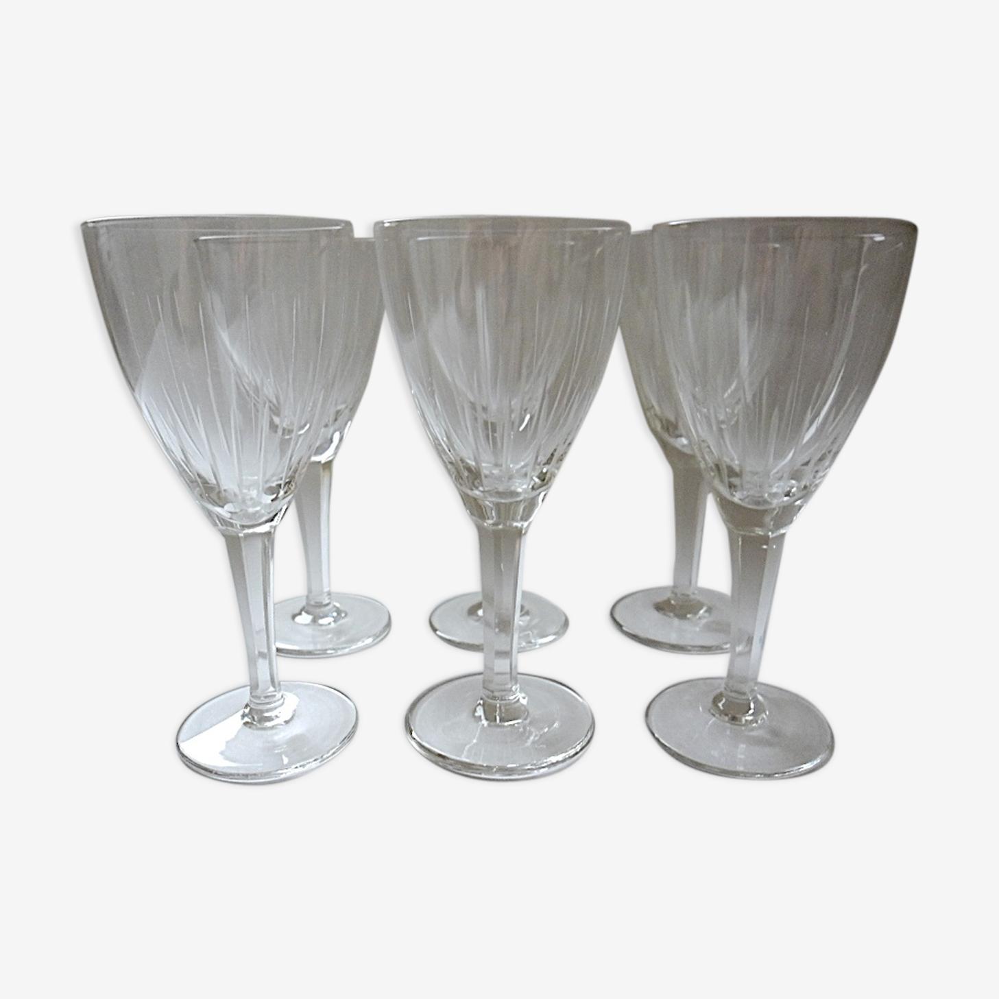 Suite de six verres à xérès ou porto en cristal