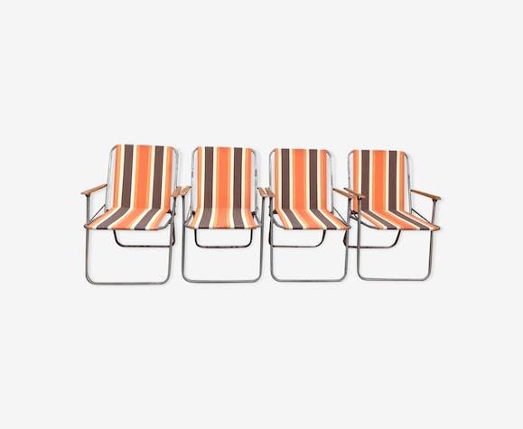 Set de 4 fauteuils camping vintage