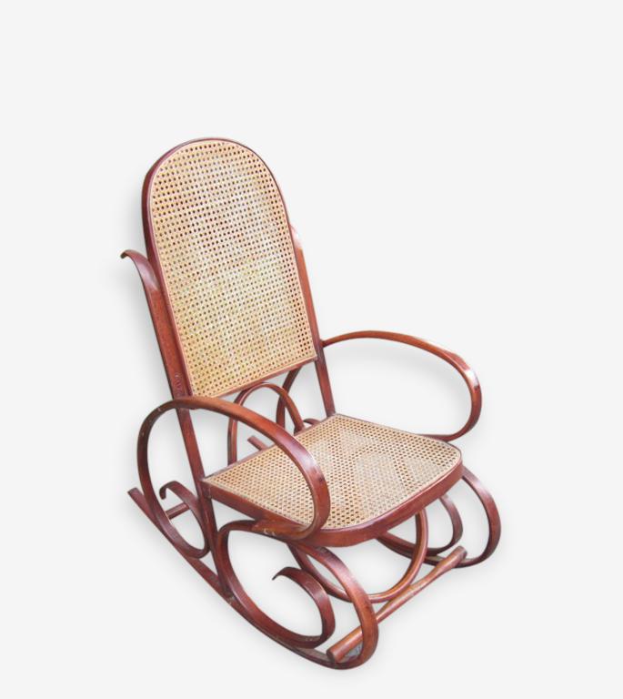 Rocking chair bois courbé canné