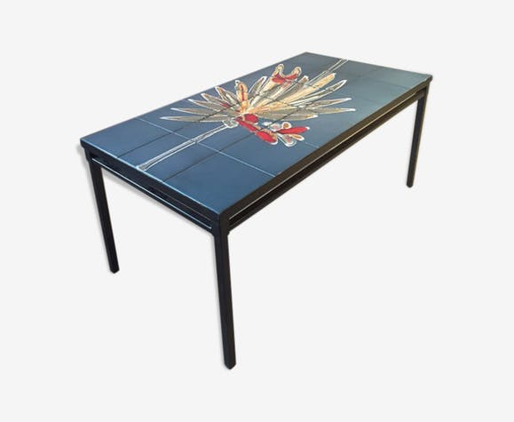 table basse avec plateau en c ramique c ramique porcelaine fa ence bleu vintage xpf1yaz. Black Bedroom Furniture Sets. Home Design Ideas
