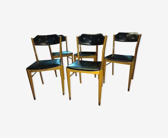 chaises en bois noir et cuir vintage