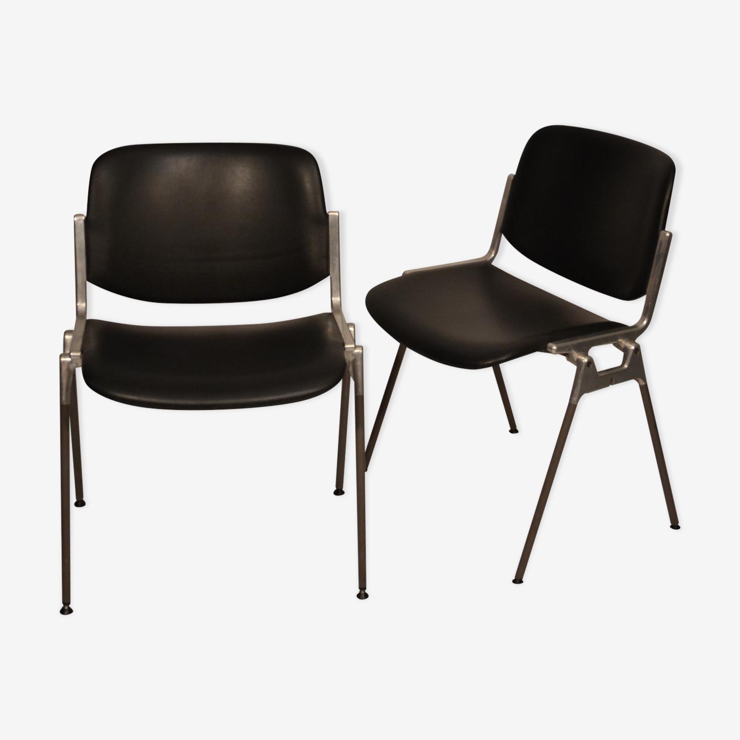 Black pairs of Italian Chairs Castelli