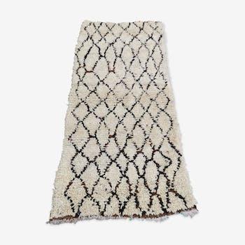 Vintage beni ouarain handmade wool rug 220x110 cm