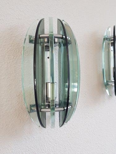 Paire d'appliques en verre Veca Italy