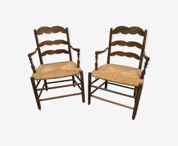 Paire de fauteuils en bois naturel fauteuil de style assise paille XX siècle