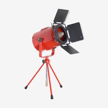 Projecteur à poser 30cm industriel rouge métal réglable