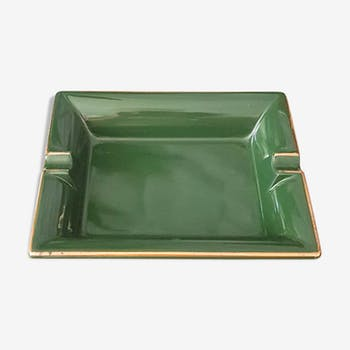 Green and gilded ceramic ashtray M99