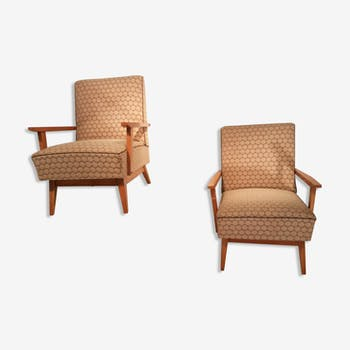 Pair of armchairs club Sycamore 1950 s