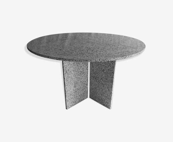 Table ronde en granit Suisse design 1980 - marbre - gris ...