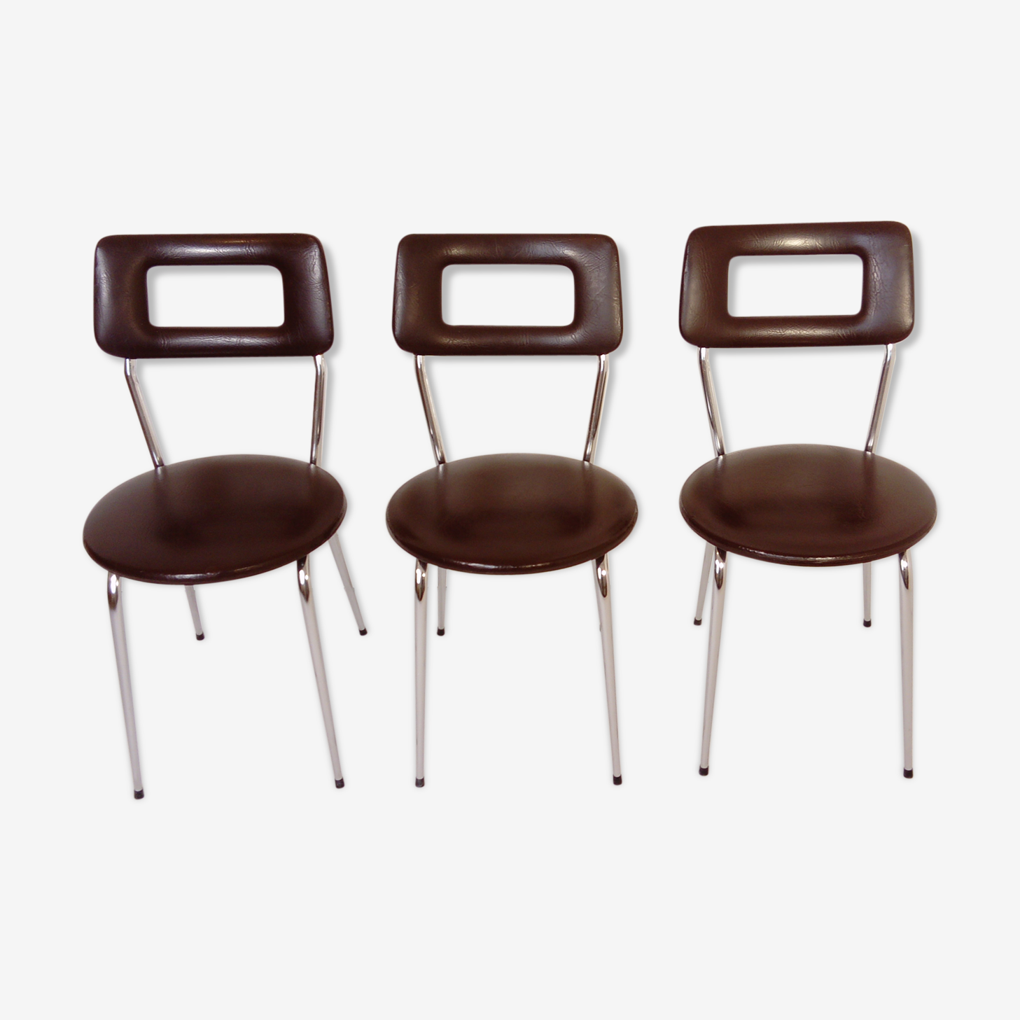 Lot de 3 chaises en skai marron design 1970