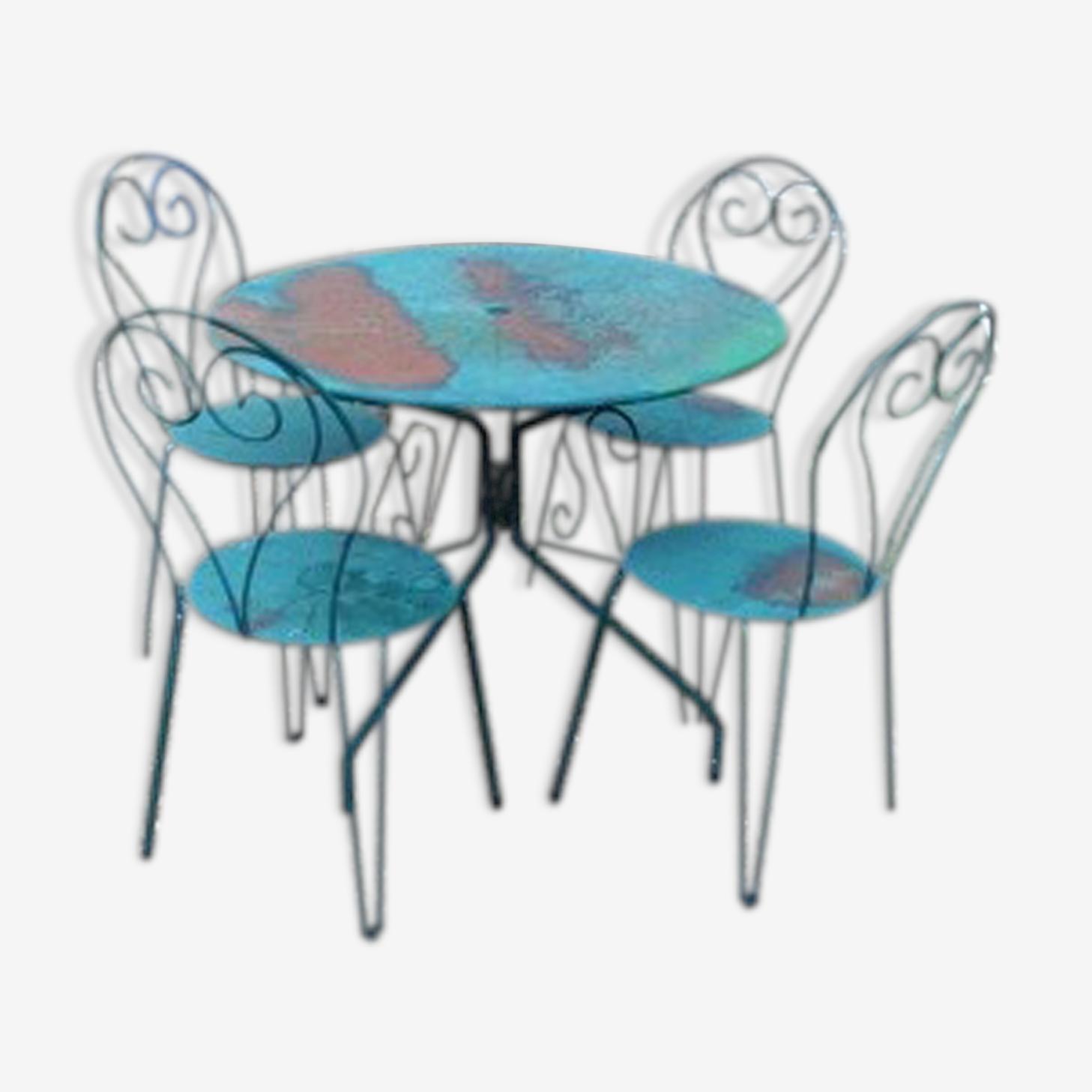 Salon De Jardin En Fer Vert 4 Chaises Et 1 Table Metal Blue