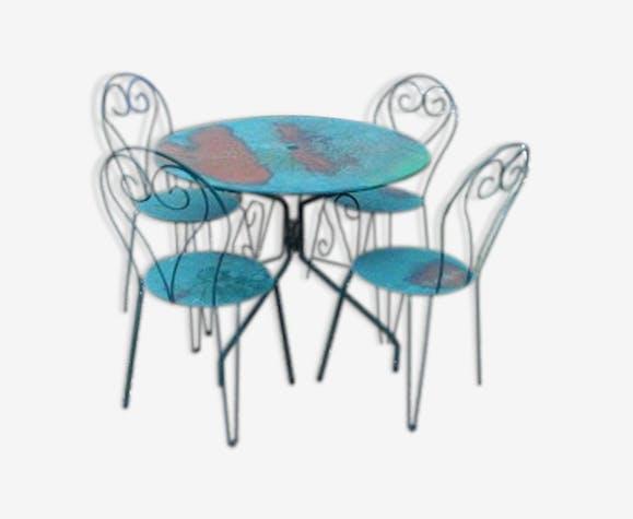 Salon De Jardin En Fer Vert, 4 Chaises Et 1 Table - métal - bleu ...
