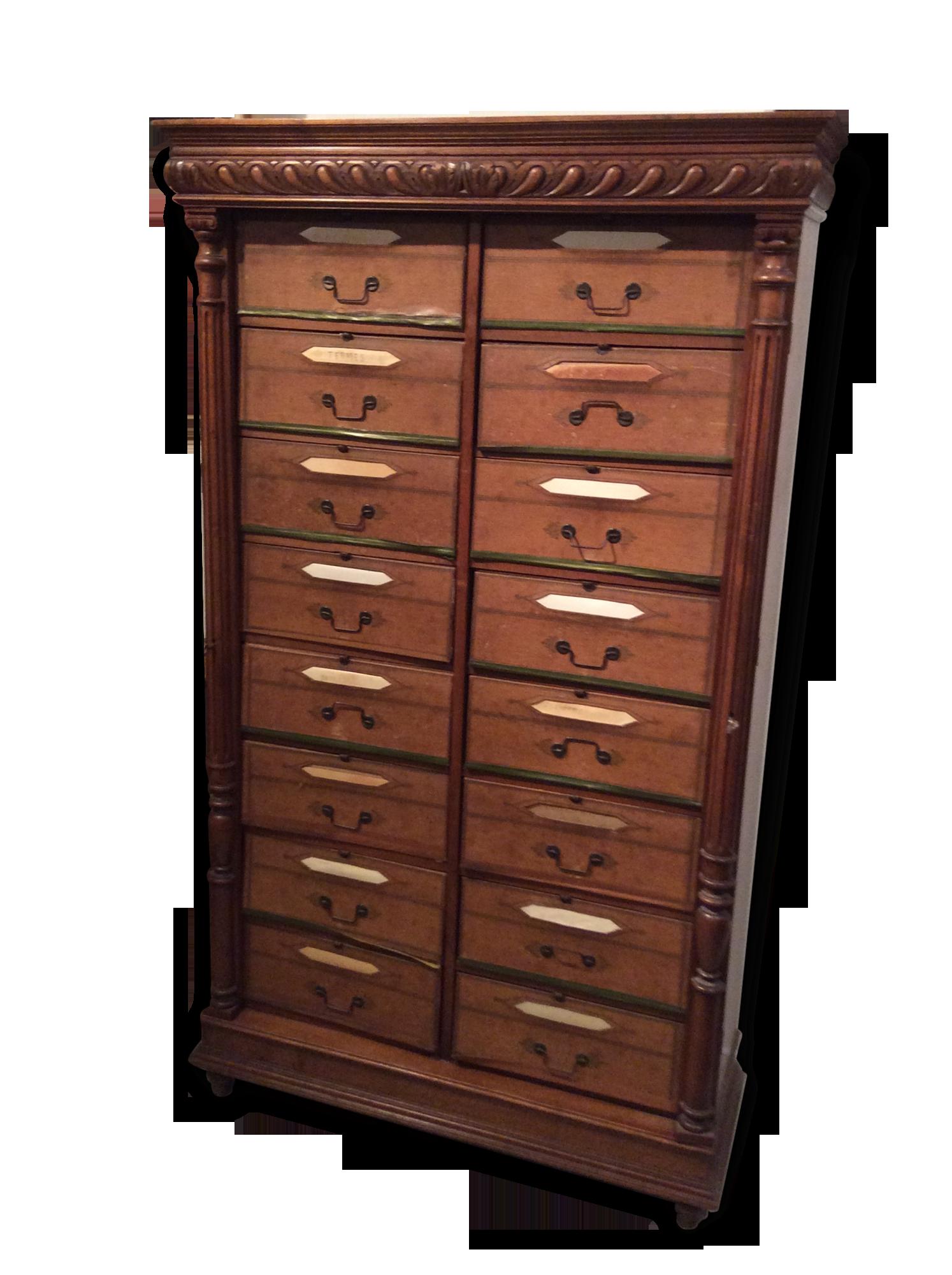Cartonnier ou meuble de notaire bois matériau vintage