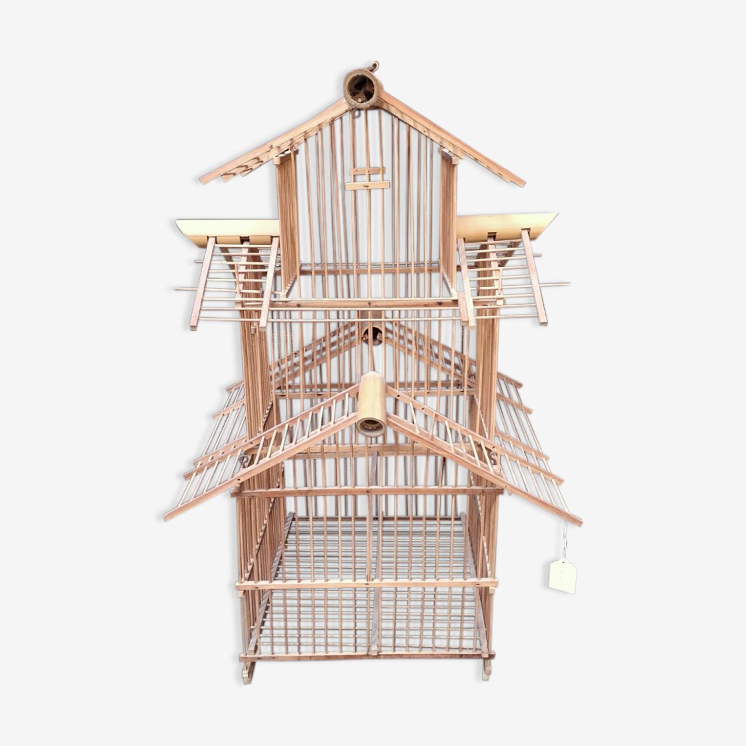 Cage à oiseaux des années 1930 en bambou