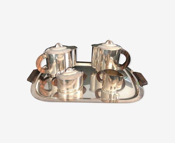 Service à thé Ercuis art deco en métal argenté
