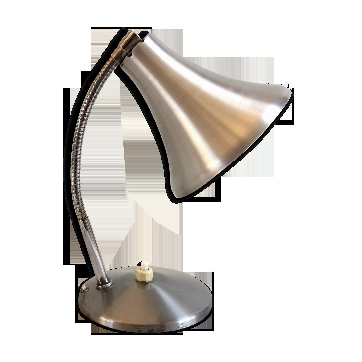 Lampe de bureau diffuseur tulipe vintage alu brossé métal